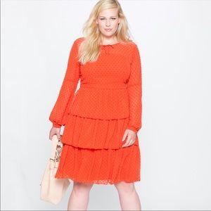 Eloquii Studio Tiered Ruffle Dress Orange Size 24